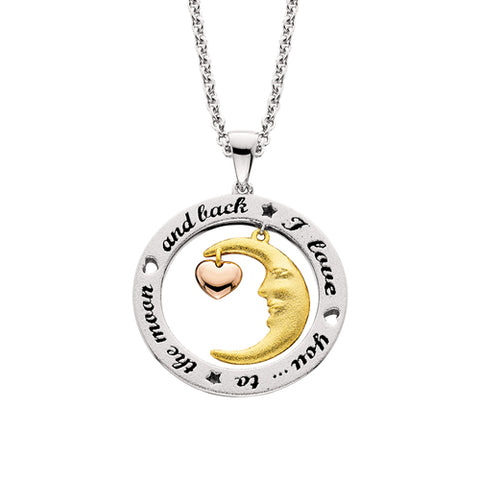 "Sterling Silver with 18 Karat Yellow & Rose Gold Overlay ""Love you To The Moon"" Necklace - Victoria's Jewelry"