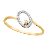 10 Karat Gold Diamond Oval Shaped  Ring - Victoria's Jewelry