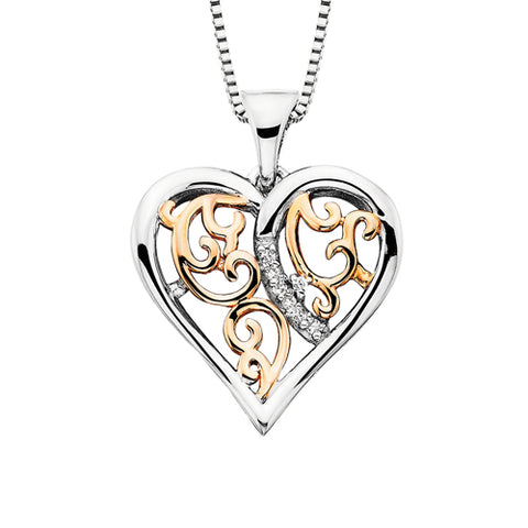 Sterling Silver with Rose Gold Overlay Diamond Heart Necklace