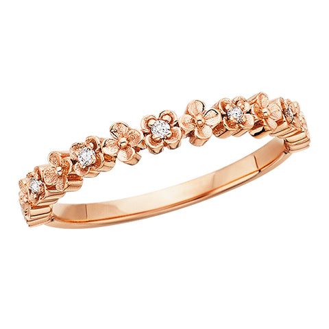 10 Karat Rose Gold Stackable Diamond Flower Band - Victoria's Jewelry