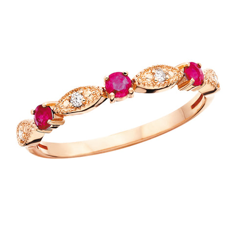 10 Karat Rose Gold Diamond & Ruby Stackable Band - Oak Ridge Jewelers