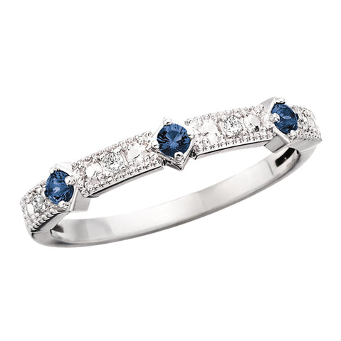 10 Karat White Gold Diamond & Sapphire Stackable Band - Victoria's Jewelry