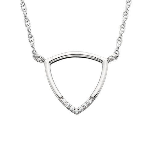 10 Karat White Gold Geometric Triangle Necklace - Victoria's Jewelry