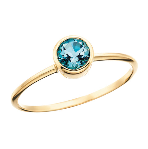 10 Karat Yellow Gold Round Blue Topaz Ring - Victoria's Jewelry