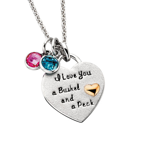 Sterling Silver Mommy Chic I Love You A Bushel and A Peck Necklace - Victoria's Jewelry