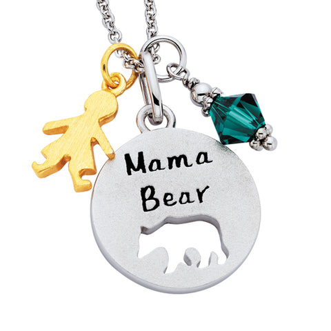 Sterling Silver Mommy Chic Mama Bear Necklace