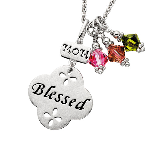 Sterling Silver Mommy Chic Mom Blessed Necklace - Victoria's Jewelry