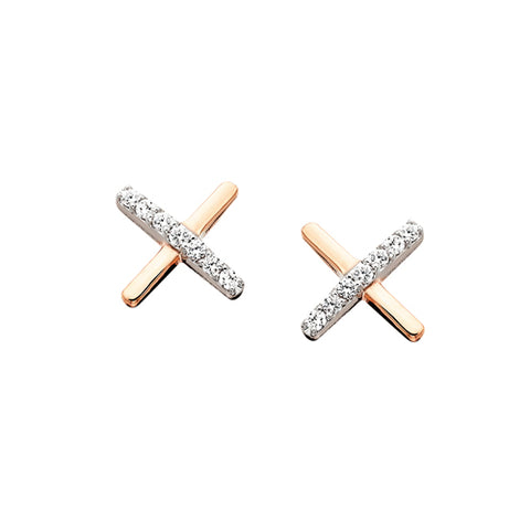 "10 Karat Rose Gold Diamond ""X"" Earrings - Victoria's Jewelry"