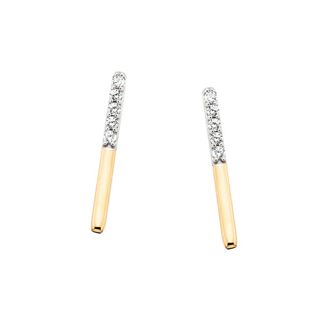 10 Karat Yellow Gold Diamond Bar Earrings - Oak Ridge Jewelers