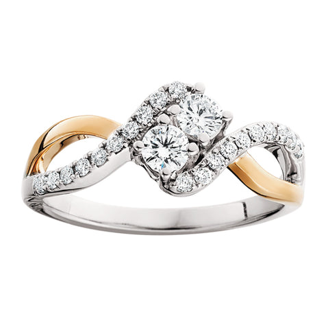 "14 Karat Rose & White Gold ""Side by Side"" Diamond Ring - Oak Ridge Jewelers"