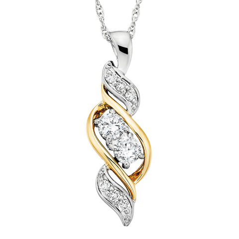 "14 Karat White & Yellow Gold ""Side By Side"" Necklace - Victoria's Jewelry"