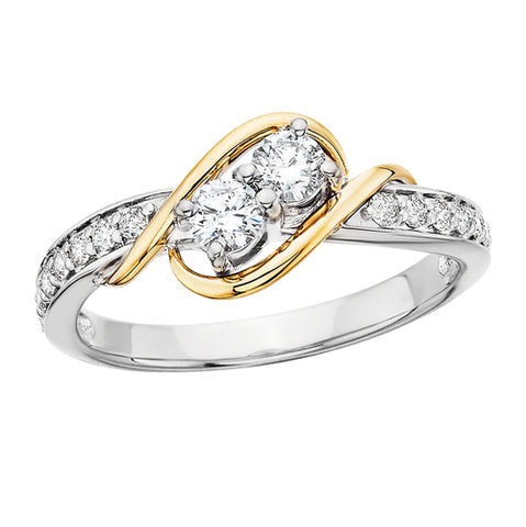 "14 Karat White & Yellow Gold ""Side By Side"" Diamond Ring - Oak Ridge Jewelers"