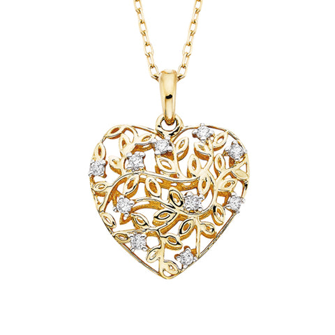 14 Karat Yellow Gold Diamond Filigree Heart Necklace - Oak Ridge Jewelers