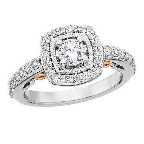 14 Karat 2 Tone White & Rose Gold 1ctw Diamond Engagement Ring - Victoria's Jewelry