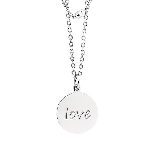 "Sterling Silver 2 Strand Layered ""Love"" Necklace - Victoria's Jewelry"
