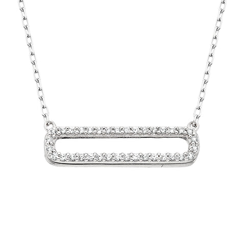 Sterling Silver Cubic Zirconia Bar Necklace - Oak Ridge Jewelers