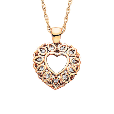 10 Karat Rose Gold Diamond Heart Necklace - Oak Ridge Jewelers