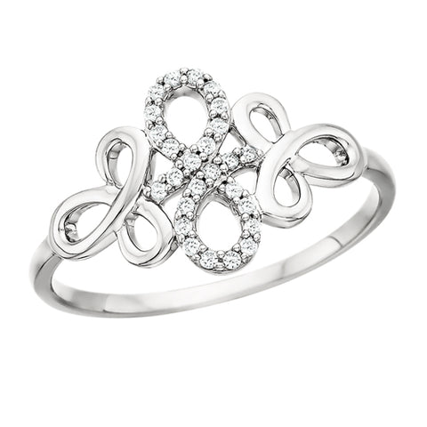 10 Karat White Gold Diamond Infinity Ring - Victoria's Jewelry