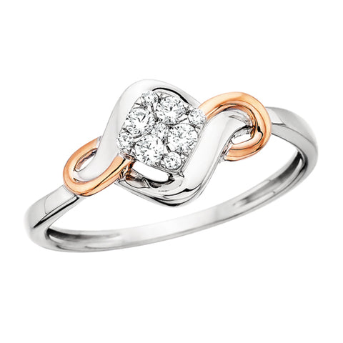 10 Karat White & Rose Gold Infinity with Diamond Cluster Ring - Victoria's Jewelry