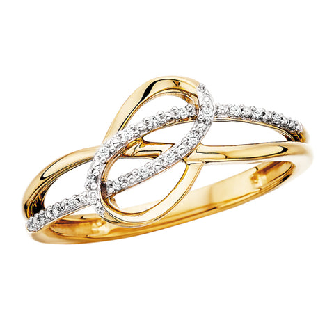 10 Karat Yellow Gold Infinity Swirl Diamond Ring - Victoria's Jewelry