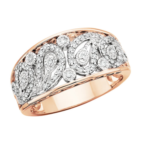 14 Karat Rose & White Gold Diamond Paisley Ring - Oak Ridge Jewelers