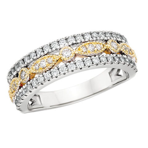 14 Karat White & Yellow Gold Vintage Diamond Band - Oak Ridge Jewelers