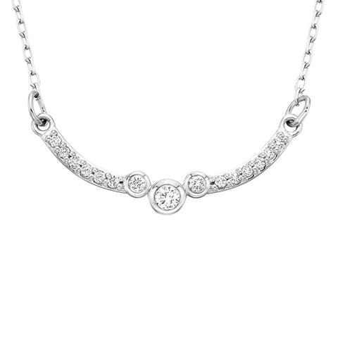 10 Karat White Gold Diamond Curve Bar Necklace - Oak Ridge Jewelers