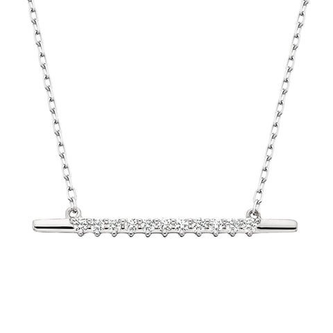 10 Karat White Gold Diamond Bar Necklace - Oak Ridge Jewelers