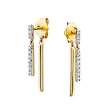 10 Karat Yellow Gold Front to Back Diamond Bar Earrings - Victoria's Jewelry
