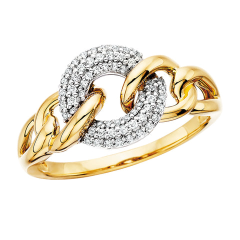 10 Karat White & Yellow Gold Diamond Loop Ring - Oak Ridge Jewelers