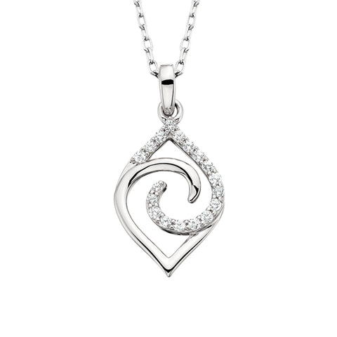 10 Karat White Gold Diamond Navette Necklace - Oak Ridge Jewelers