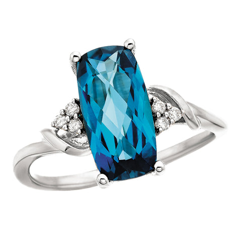 14 Karat White Gold Blue Topaz & Diamond Ring - Victoria's Jewelry
