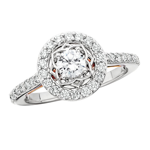 14 Karat White & Rose Gold Halo Engagement Ring - Victoria's Jewelry