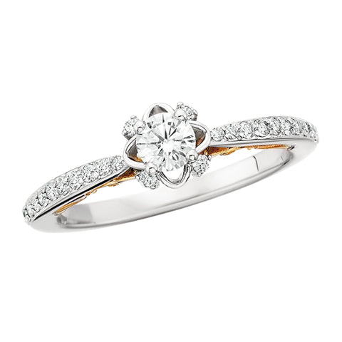 14 Karat White & Yellow Gold 1/2 ctw Engagement Ring - Victoria's Jewelry