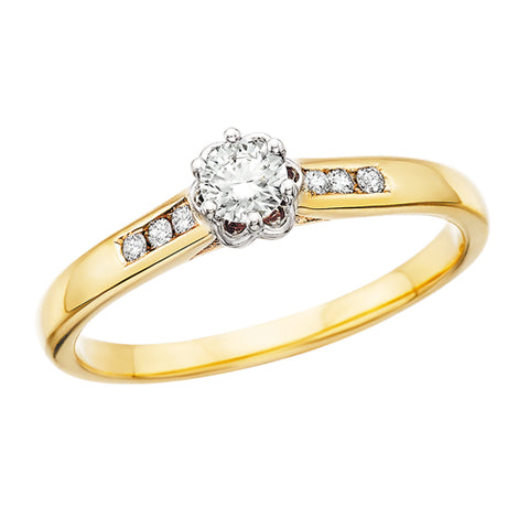 10 Karat Yellow Gold Round Diamond Engagement Ring - Victoria's Jewelry