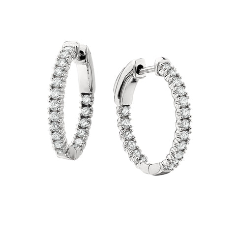 14 Karat White Gold Diamond Eternity Hoop Earrings - Victoria's Jewelry