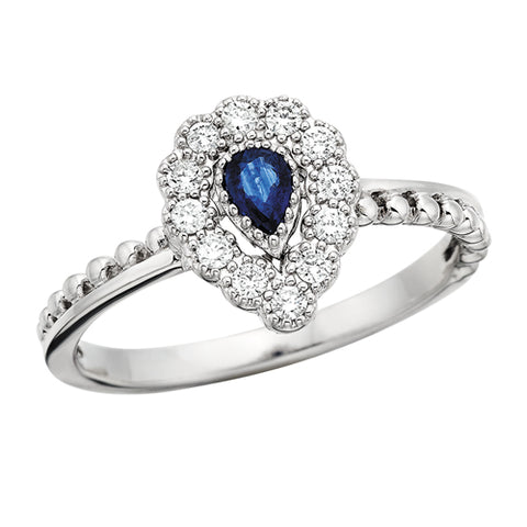10 Karat White Gold Vintage Style Pear Sapphire & Diamond Ring - Victoria's Jewelry