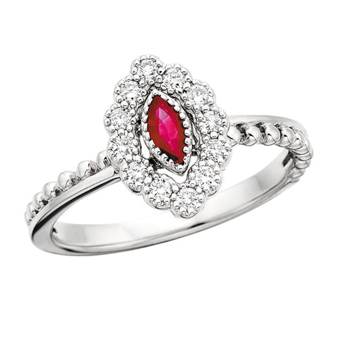 10 Karat White Gold Vintage Marquise Ruby & Diamond Ring - Victoria's Jewelry