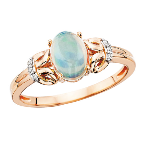 10 Karat Rose Gold Opal & Diamond Ring - Oak Ridge Jewelers