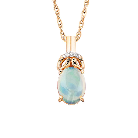 10 karat Rose Gold Opal & Diamond Necklace - Victoria's Jewelry