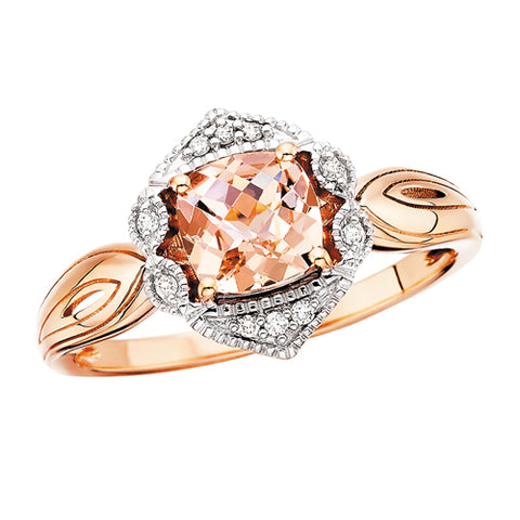 10 Karat Rose Gold Morganite & Diamond Ring - Oak Ridge Jewelers