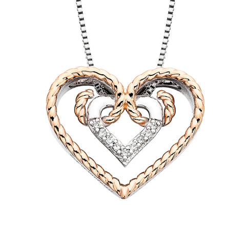 Sterling Silver with Rose Gold Overlay Diamond Rope Heart Necklace - Victoria's Jewelry