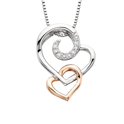 "Sterling Silver ""You've Captured My Heart"" Diamond Necklace - Victoria's Jewelry"