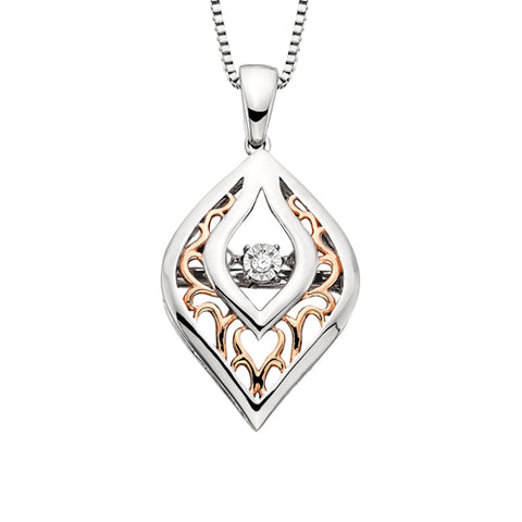 Sterling Silver with Rose Gold Overlay Diamond Dancer Necklace - Oak Ridge Jewelers