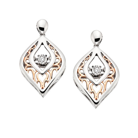 Sterling Silver with Rose Gold Overlay Diamond Dancer Earrings - Victoria's Jewelry