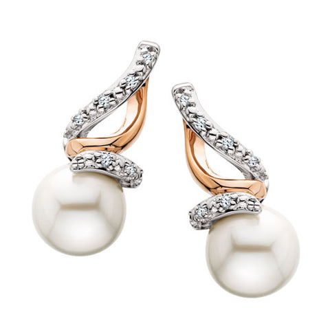 Sterling Silver with Rose Gold Overlay Pearl & Diamond Earrings - Victoria's Jewelry