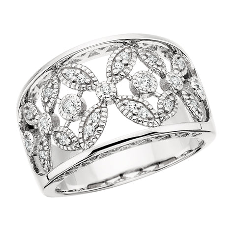Sterling Silver Cubic Zirconia Vintage Floral Ring - Victoria's Jewelry