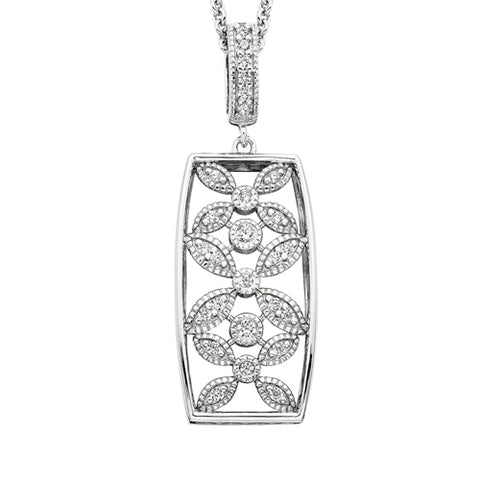 Sterling Silver Cubic Zirconia Vintage Floral Necklace - Oak Ridge Jewelers
