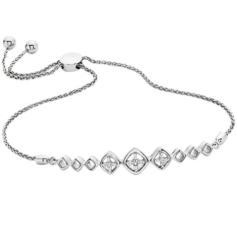 Sterling Silver Diamond  Bolo Bracelet - Oak Ridge Jewelers