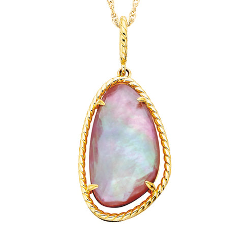 Sterling Silver with Yellow Gold Overlay Rose Quartz & Mother Of Pearl Necklace - Oak Ridge Jewelers